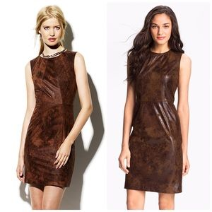 Vince Camuto brown faux leather sleeveless dress